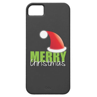 MERRY Christmas with cute santa hat iPhone SE/5/5s Case