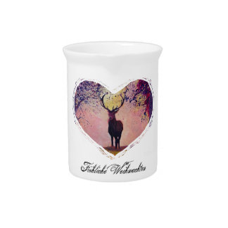 Merry Christmas with deer heart Drink Pitcher