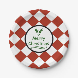 Merry Christmas with diamond pattern Paper Plate