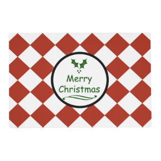 Merry Christmas with diamond pattern Placemat