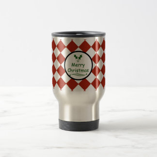 Merry Christmas with diamond pattern Travel Mug