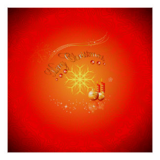 Merry Christmas with elegant gold, red background Posters