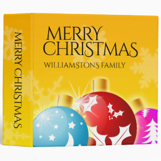 Merry Christmas with Festive Holiday Ornaments 3 Ring Binder