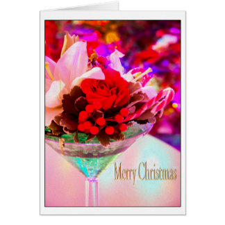 Merry Christmas With Flowers In Martini Glass Card
