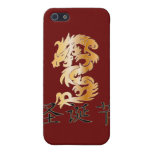 Merry Christmas with Golden Dragon Covers For iPhone 5