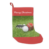 Merry Christmas  with golf and gift on green Small Christmas Stocking