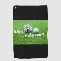 Merry Christmas with golf ball and pine cone Golf Towel