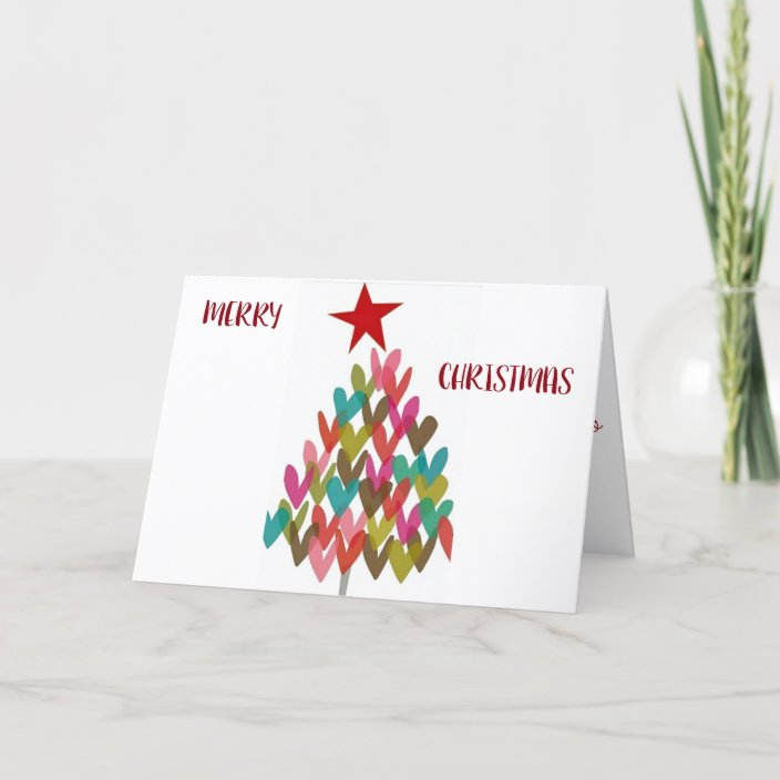 Happyt Holidays Christmas Cards 2021 Trifold Thoughts Heart Merry Christmas With Heart Tree Holiday Card Zazzle Com