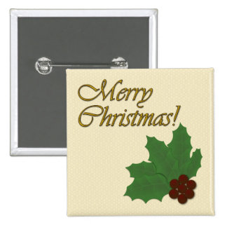 Merry Christmas with Holly Leaves and Red Berries Button