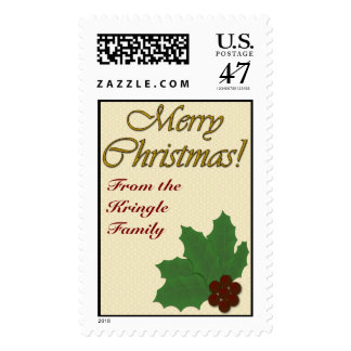 Merry Christmas with Holly Leaves and Red Berries Postage