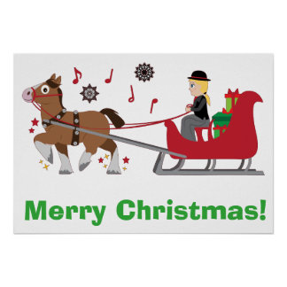 Merry Christmas with Horse-Drawn Sleigh with Notes Poster