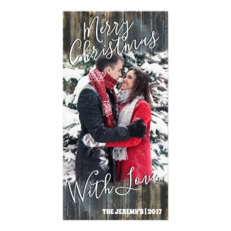 Merry Christmas With Love Personalized Photo Card