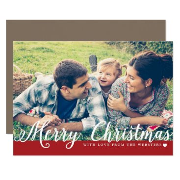 Christmas Themed Merry Christmas with Love Photo Holiday Greeting Card