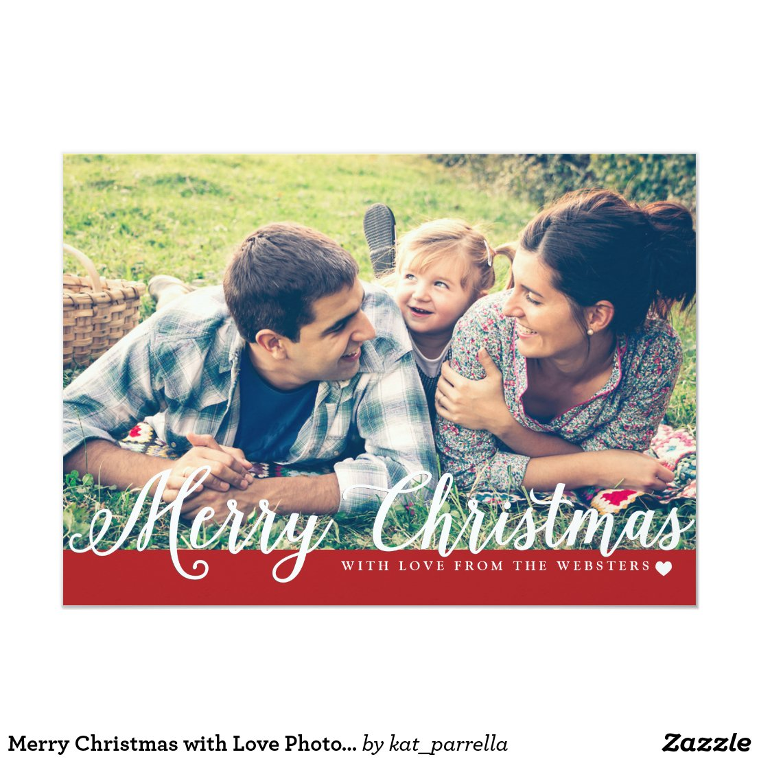 Merry Christmas with Love Photo Holiday Greeting