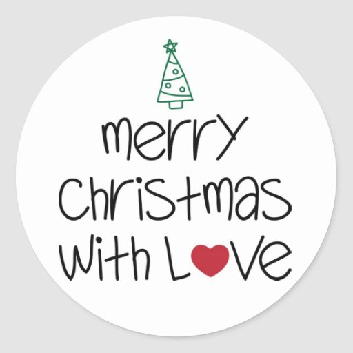 merry christmas with love sticker zazzle