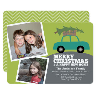 Merry Christmas with New Home Address Moving Card