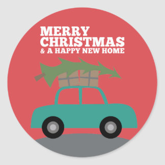 Merry Christmas with New Home Address Moving Classic Round Sticker