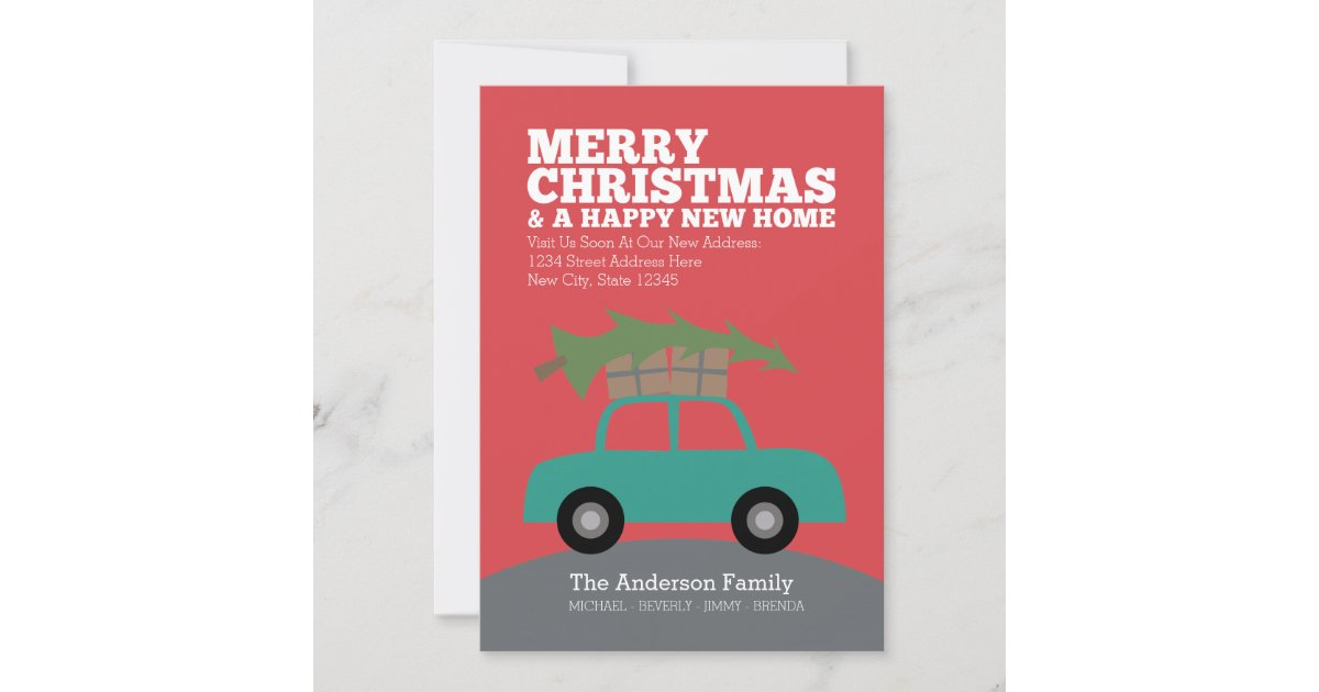 Merry Christmas with New Home Address Moving Holiday Card | Zazzle.com