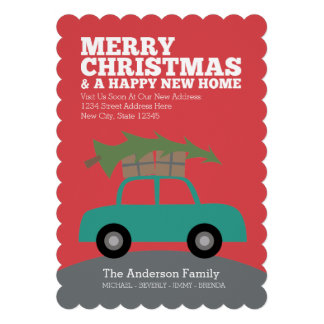 Merry Christmas with New Home Address Moving Custom Invites