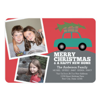 Merry Christmas with New Home Address Moving Custom Announcements