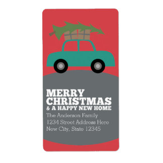 Merry Christmas with New Home Address Moving Label