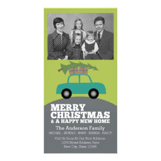 Merry Christmas with New Home Address Moving Customized Photo Card