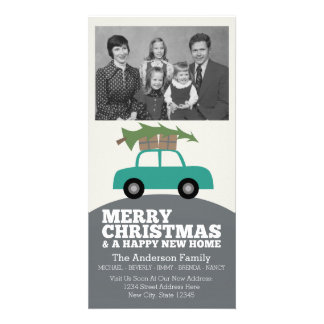 Merry Christmas with New Home Address Moving Photo Greeting Card