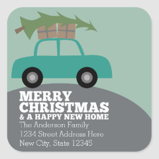 Merry Christmas with New Home Address Moving Square Sticker