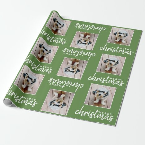 Merry Christmas with One Square Photo - green Wrapping Paper