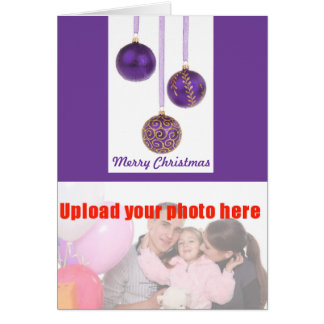 Merry Christmas with purple baubles add photo Card