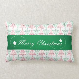 Merry Christmas with Red and Green Tree Pattern Lumbar Pillow