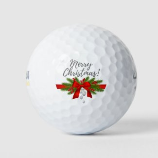 Merry  Christmas with red ribbon gift golfer Golf Balls