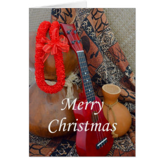 Merry Christmas with Red Ribbon Lei Greeting Card