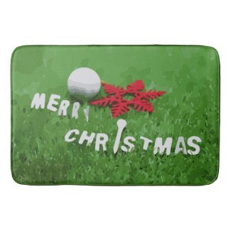 Merry Christmas with red snowflake with golf ball Bath Mat