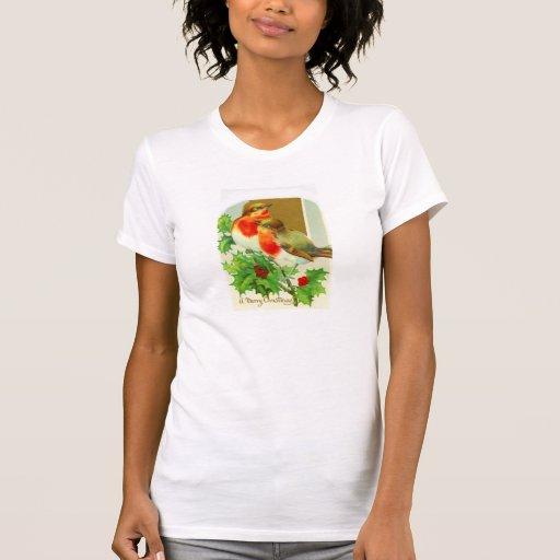 Merry Christmas with robins Tee Shirt