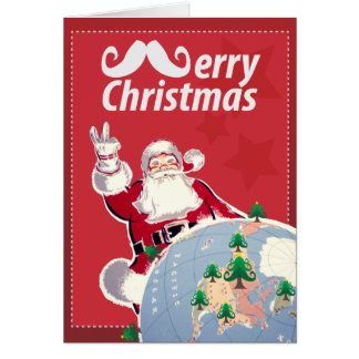 Merry Christmas with Santa Claus and Mustache Card
