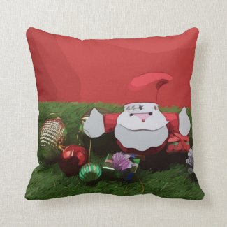 Merry Christmas with Santa Claus and Ornament Throw Pillow