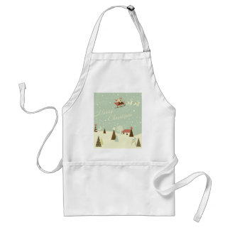 Merry Christmas with Santa Claus, Rudolfs, in snow Adult Apron