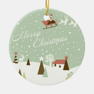 Merry Christmas with Santa Claus, Rudolfs, in snow Ceramic Ornament