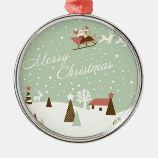 Merry Christmas with Santa Claus, Rudolfs, in snow Metal Ornament