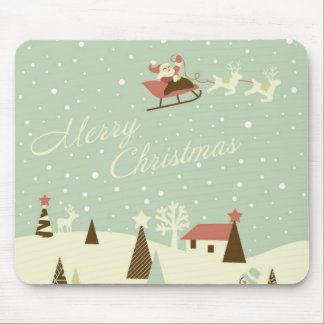 Merry Christmas with Santa Claus, Rudolfs, in snow Mouse Pad