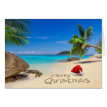 Merry Christmas With Santa Hat In The Tropics Card