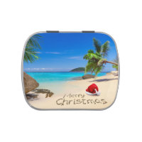 Merry Christmas With Santa Hat In The Tropics Jelly Belly Candy Tin