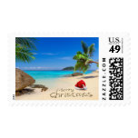Merry Christmas With Santa Hat In The Tropics Postage