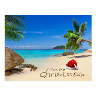 Merry Christmas With Santa Hat In The Tropics Postcard