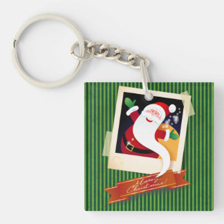 Merry Christmas with Santa! Double-Sided Square Acrylic Keychain