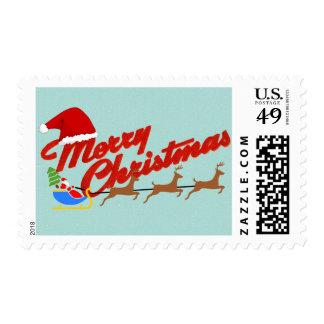 Merry Christmas with santa sleigh Postage Stamp