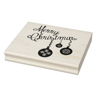 Merry Christmas with Snowflake Ornaments Art Stamp