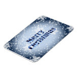 Merry Christmas with snowflakes premium magnet