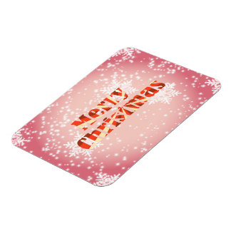 Merry Christmas with snowflakes red premium magnet